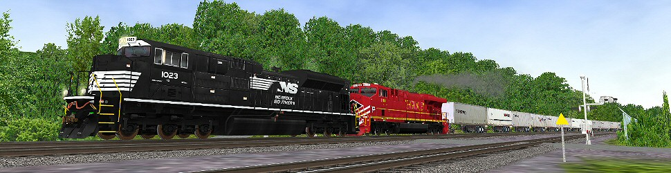 Norfolk Southern 1023 leading a Triple Crown Roadrailer past the brickyard crossing near Altoona PA 